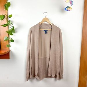 Karen Scott Butter Soft Tan Open Cardigan Sweater